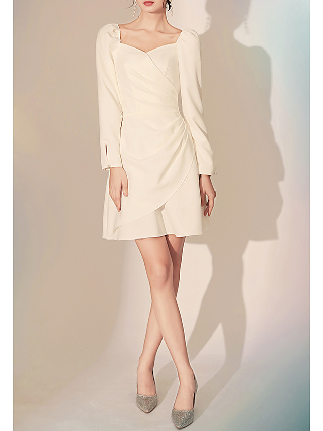 A-Line Minimalist White Homecoming Cocktail Party Dress Sweetheart Neckline Long Sleeve Short / Mini Spandex with Ruched 2020