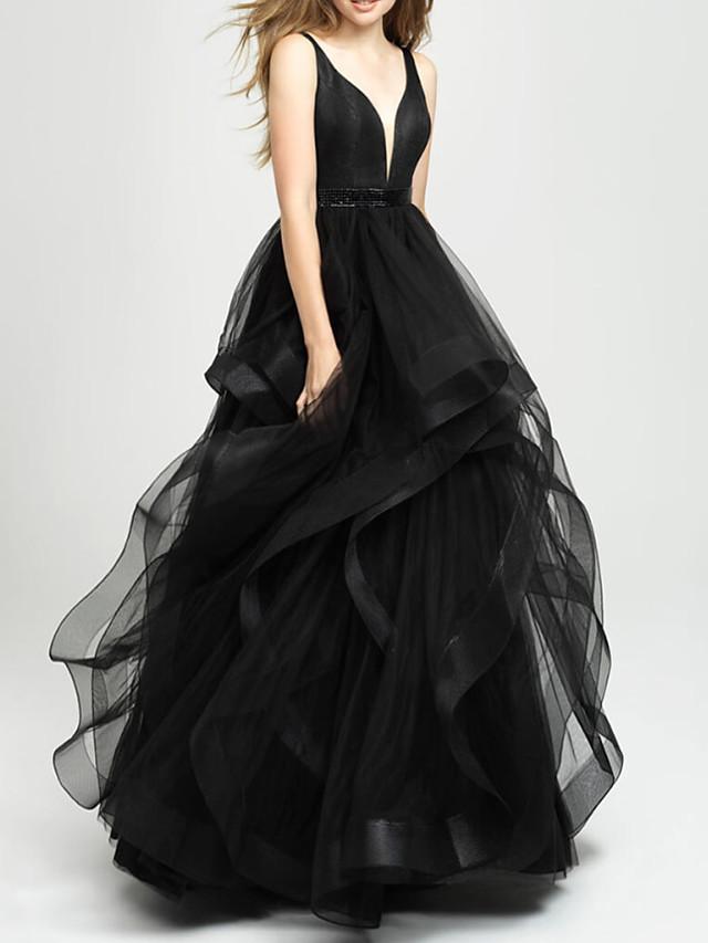 Ball Gown Elegant Black Engagement Prom Dress V Neck Sleeveless Asymmetrical Tulle with Tier 2020