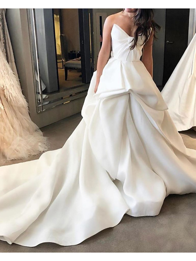 Ball Gown Wedding Dresses Strapless Court Train Polyester Sleeveless Country Plus Size with Draping 2021