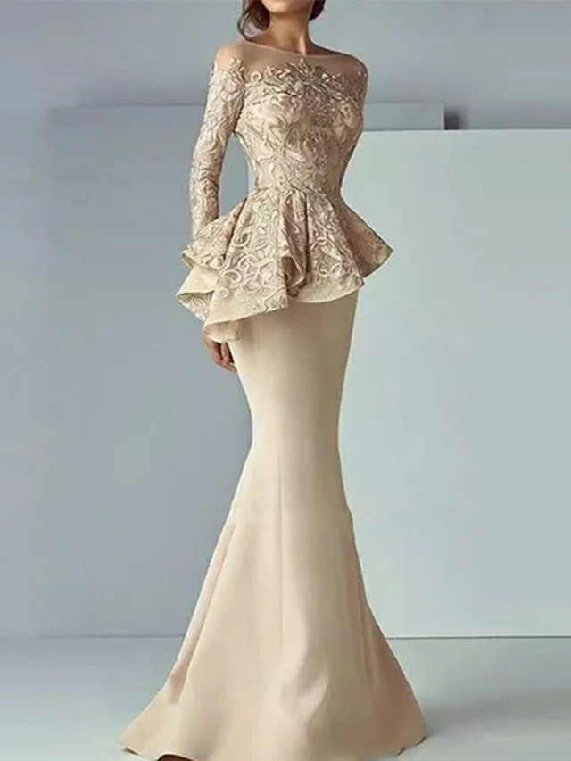 Mermaid / Trumpet Peplum Gold Wedding Guest Formal Evening Dress Illusion Neck Long Sleeve Sweep / Brush Train Satin with Lace Insert 2020