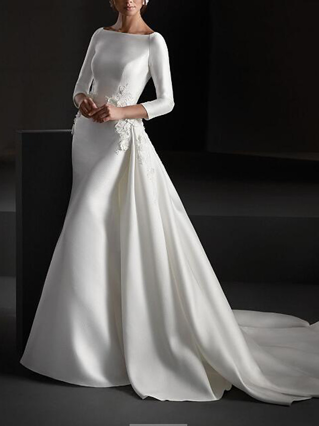 A-Line Wedding Dresses Jewel Neck Sweep / Brush Train Stretch Satin Long Sleeve Country Plus Size with Embroidery 2020