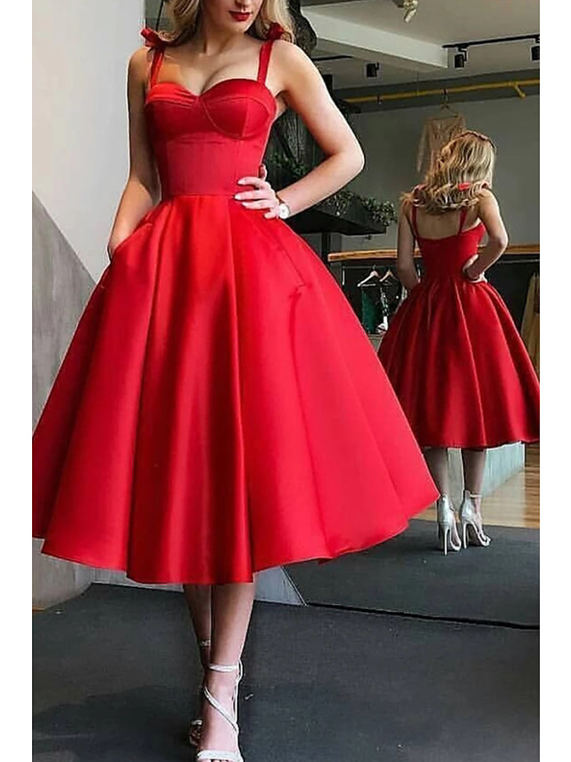 Ball Gown Minimalist Party Wear Prom Dress Spaghetti Strap Sleeveless Tea Length Satin with Pleats 2020