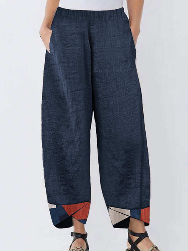 Women's Basic Loose Cotton Chinos Pants - Solid Colored Black Blue Gray M / L / XL