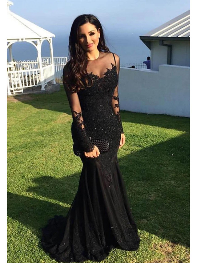 Mermaid / Trumpet Sparkle Black Engagement Formal Evening Dress Illusion Neck Long Sleeve Sweep / Brush Train Lace with Appliques 2020