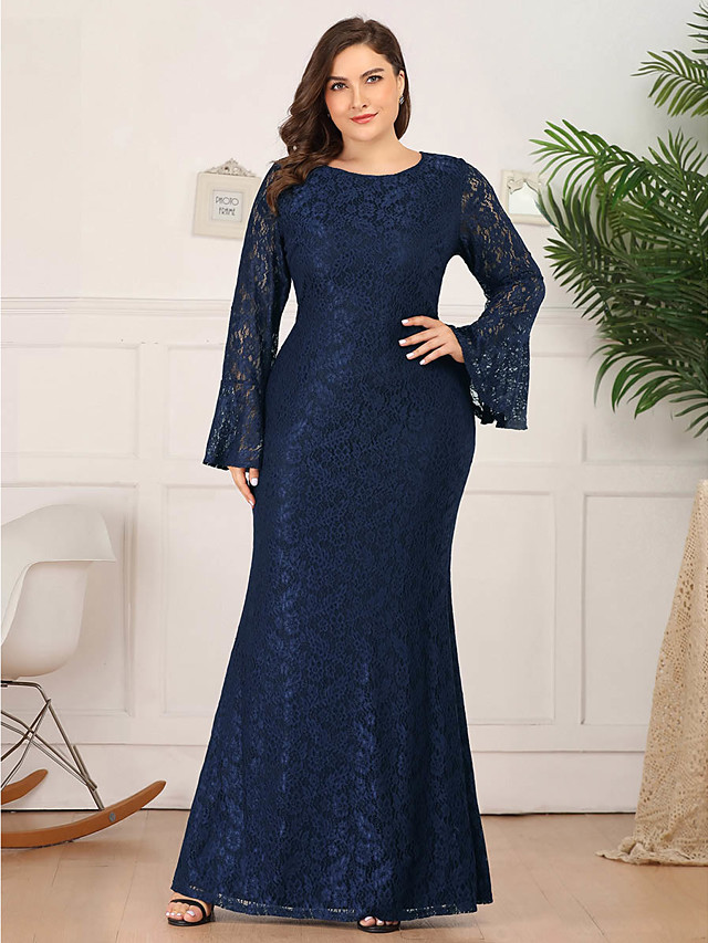 Mermaid / Trumpet Mother of the Bride Dress Plus Size Jewel Neck Floor Length Lace Long Sleeve with Lace 2020