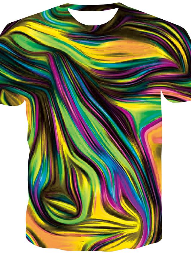 בגדי ריקוד גברים יומי טישרט מופשט גראפי דפוס שרוולים קצרים צמרות צווארון עגול פול אודם זהב / קיץ