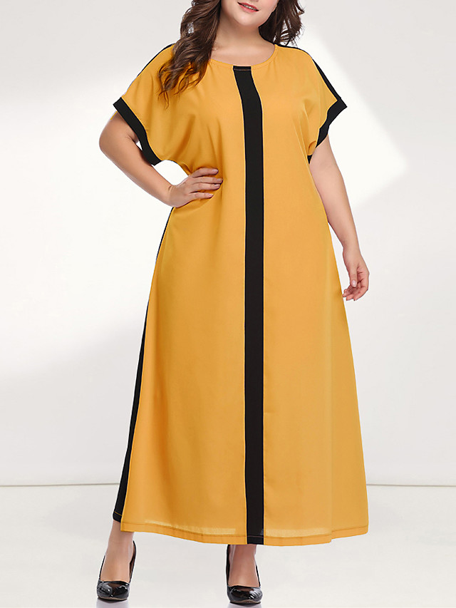 Women's Plus Size Maxi Loose Dress - Long Sleeve Color Block Solid Color Patchwork Casual Sophisticated Daily Going out Batwing Sleeve Loose Yellow Blushing Pink XL XXL XXXL XXXXL XXXXXL / Retro