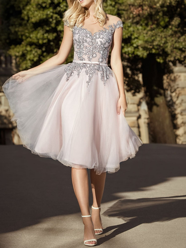 A-Line Beautiful Back White Homecoming Cocktail Party Dress Illusion Neck Short Sleeve Knee Length Tulle with Pleats Appliques 2020