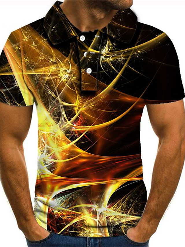 Men's Golf Shirt Tennis Shirt 3D Print Graphic Plus Size Short Sleeve Daily Slim Tops Streetwear Exaggerated Shirt Collar Rainbow