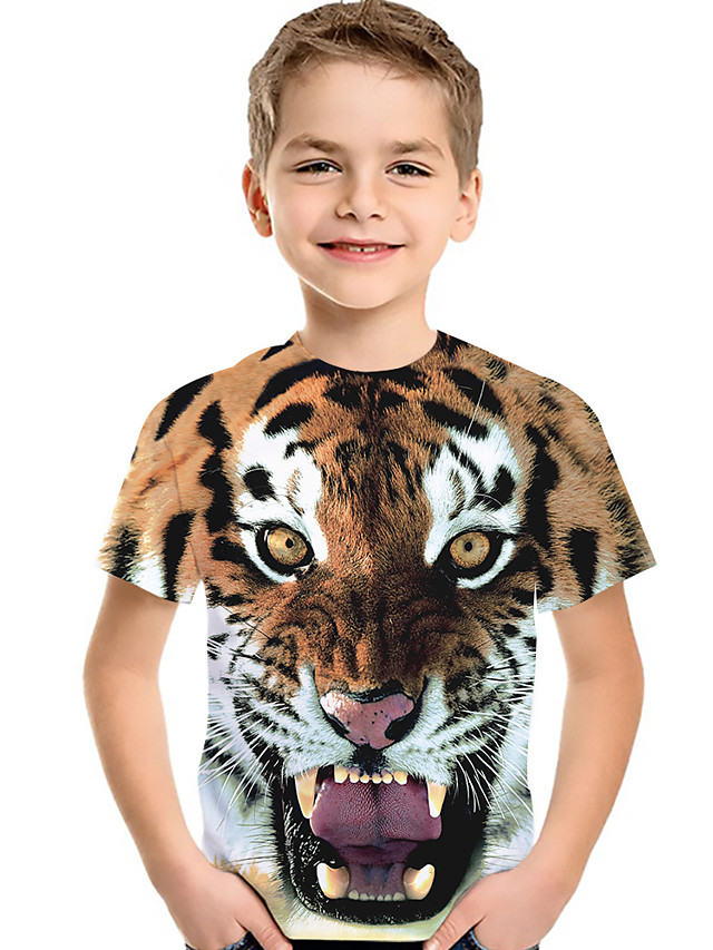Kids Toddler Boys' Active Basic Tiger Fantastic Beasts Color Block 3D Animal Print Short Sleeve Tee Brown