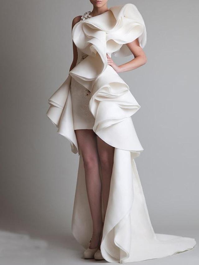 Sheath / Column Wedding Dresses One Shoulder Asymmetrical Polyester Short Sleeve Vintage Plus Size with Cascading Ruffles 2020