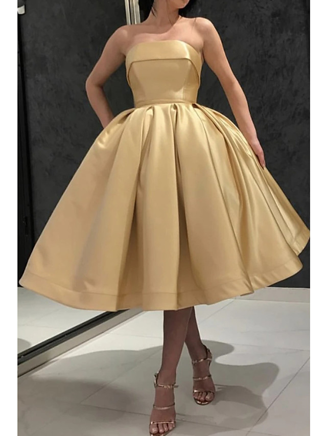Ball Gown Minimalist Party Wear Prom Dress Strapless Sleeveless Tea Length Satin with Pleats 2021