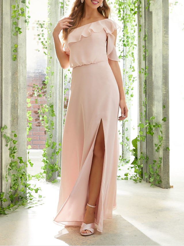 A-Line One Shoulder Floor Length Chiffon Bridesmaid Dress with Ruffles / Split Front