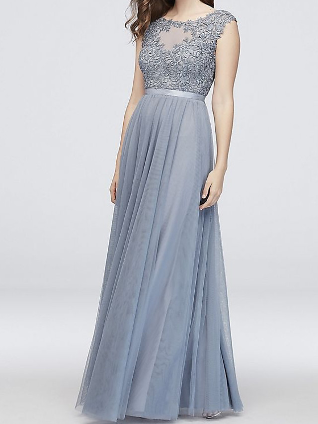 A-Line Elegant Engagement Formal Evening Dress Illusion Neck Sleeveless Floor Length Tulle with Pleats Appliques 2020