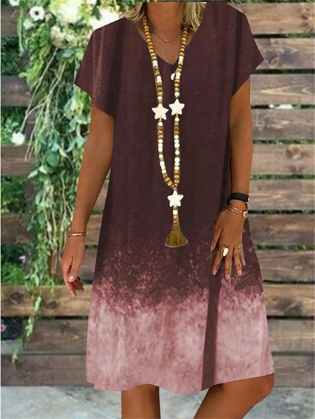 Women's Plus Size A-Line Dress Knee Length Dress - Short Sleeve Color Gradient Summer V Neck Casual Vintage Daily Loose 2020 Black Blue Purple Brown S M L XL XXL XXXL XXXXL XXXXXL