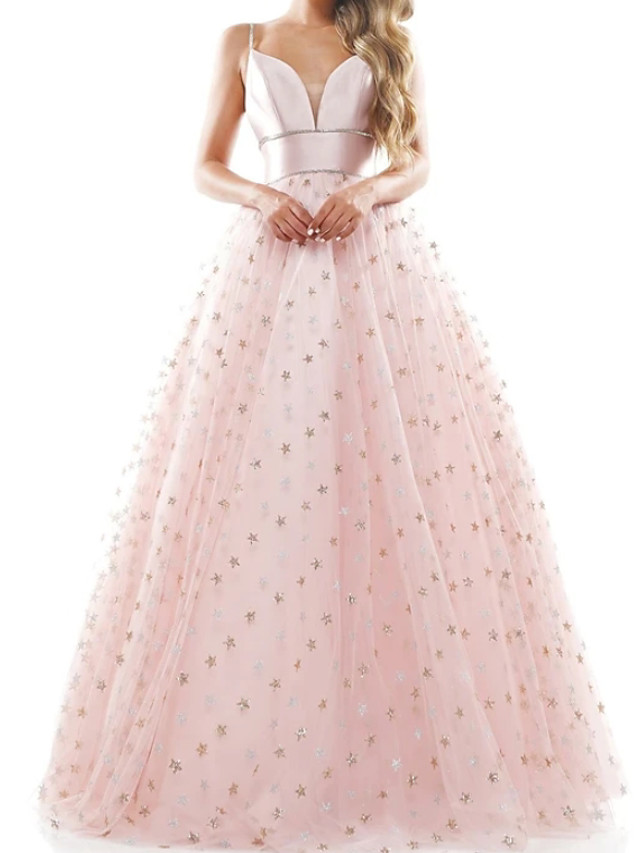 Ball Gown Beautiful Back Sparkle Engagement Prom Dress Spaghetti Strap Sleeveless Floor Length Tulle with Sequin 2020