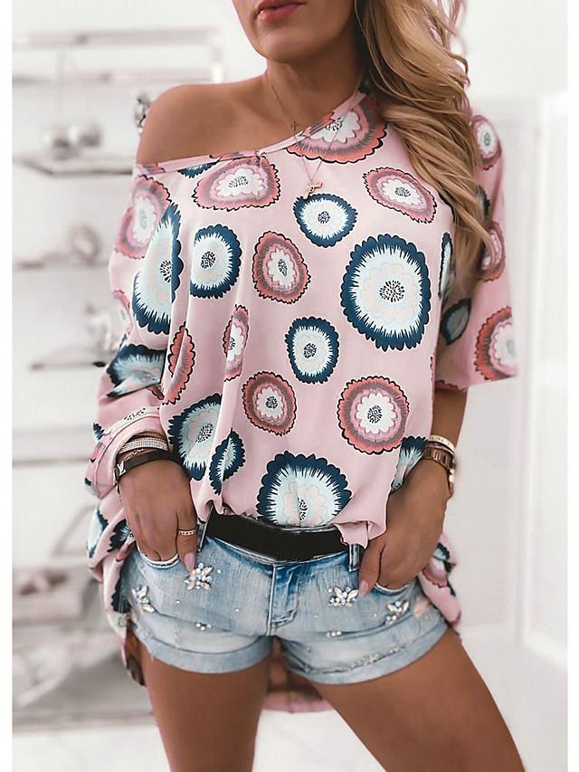 Women's Blouse Geometric Loose Tops Basic Blushing Pink / Short Sleeve