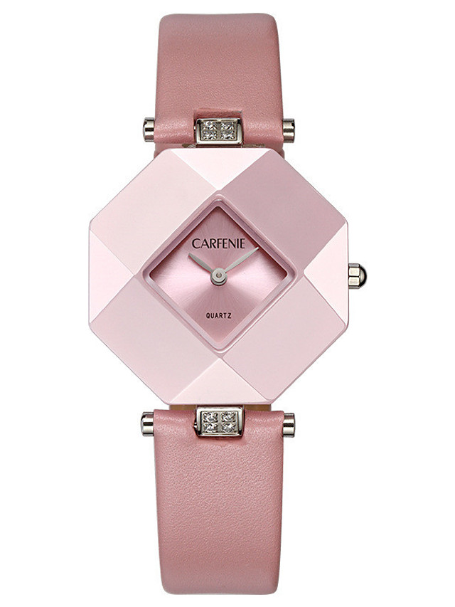 Women's Quartz Watches Quartz Luxury Water Resistant / Waterproof Genuine Leather Analog - White Blushing Pink Brown One Year Battery Life / Japanese / Calendar / date / day / Japanese
