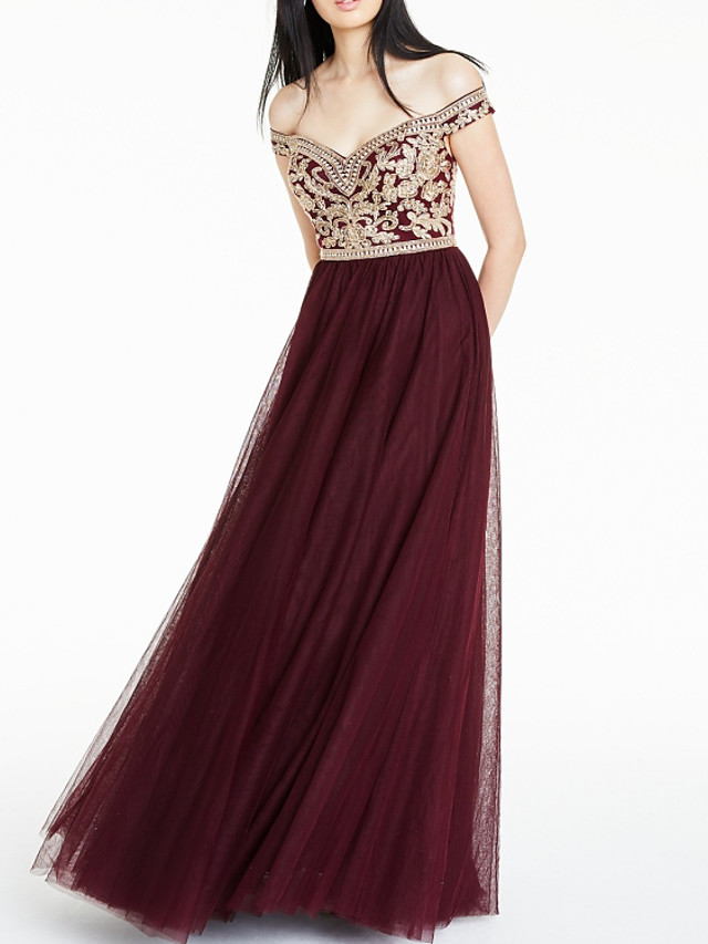 A-Line Sparkle Red Engagement Prom Dress Off Shoulder Sleeveless Floor Length Chiffon with Pleats Sequin 2020