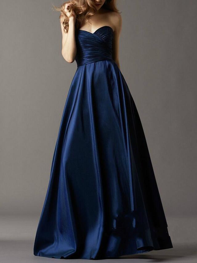 A-Line Elegant Beautiful Back Wedding Guest Prom Dress Sweetheart Neckline Sleeveless Floor Length Satin with Sleek 2020