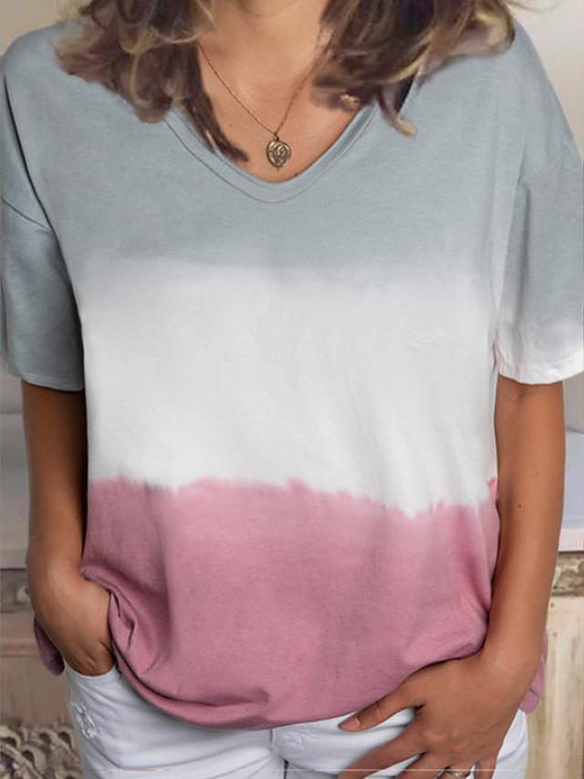 Women's T-shirt Color Block Tie Dye Short Sleeve Tops V Neck Blue Purple Blushing Pink