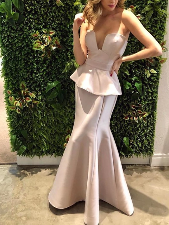 Mermaid / Trumpet Reformation Amante Sexy Engagement Prom Dress Strapless Sleeveless Floor Length Satin with Sleek 2020