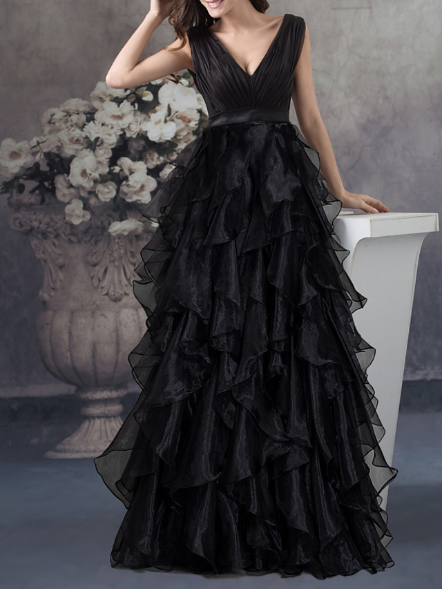 A-Line Empire Party Wear Prom Dress V Neck Sleeveless Floor Length Organza with Tier 2020