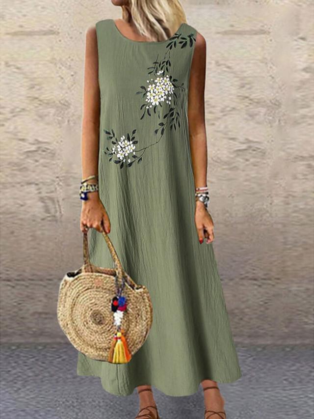 Women's Plus Size A-Line Dress Maxi long Dress - Sleeveless Floral Print Summer Holiday Vacation Loose 2020 Green Gray M L XL XXL XXXL XXXXL XXXXXL