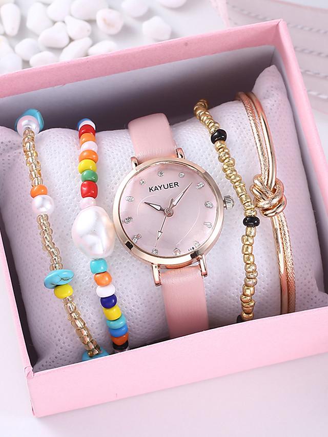 Women's Quartz Watches Quartz Heart Heart shape Chronograph PU Leather Black / Pink Analog - Black Blushing Pink One Year Battery Life