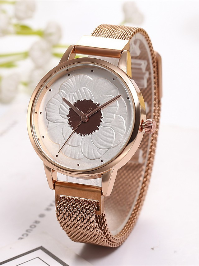 Geneva Women's Quartz Watches Digital Stylish Floral Style Flower Casual Watch Synthetic Diamond Blue / Red Analog - Rose Gold Black Blue One Year Battery Life