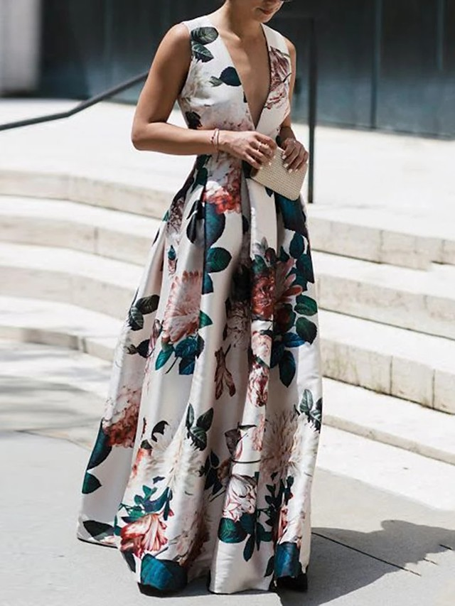 Sheath / Column Floral Maxi Holiday Prom Dress V Neck Sleeveless Floor Length Nylon with Pattern / Print 2020