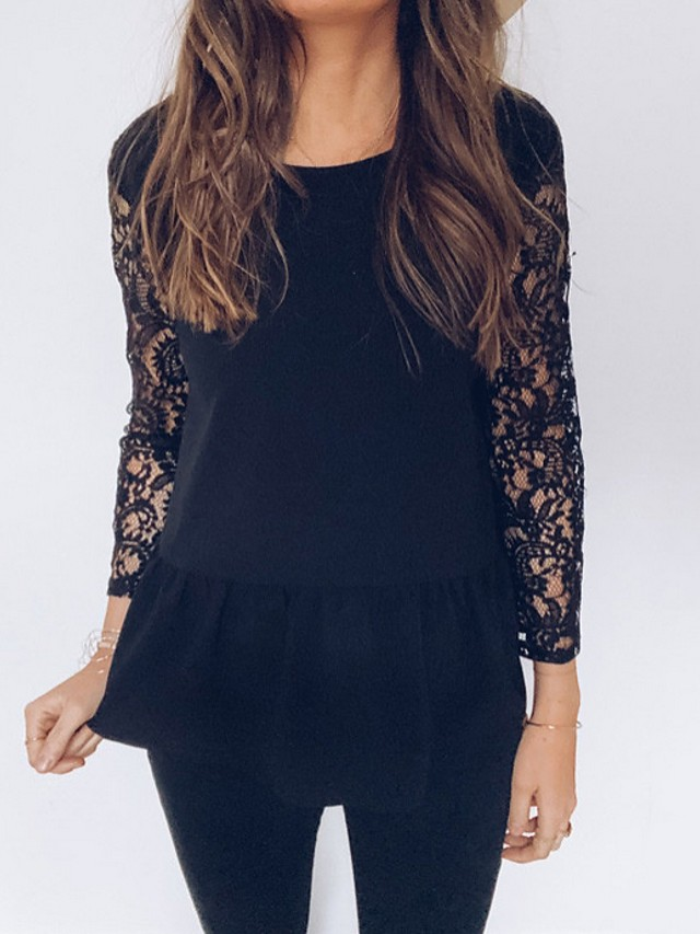 Women's Blouse Solid Colored Lace Backless Patchwork Long Sleeve Tops Black