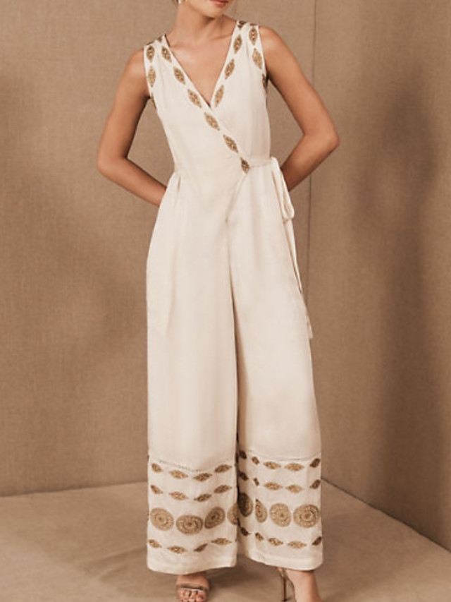 Jumpsuits Floral Boho Holiday Prom Dress V Neck Sleeveless Floor Length Cotton with Embroidery 2020