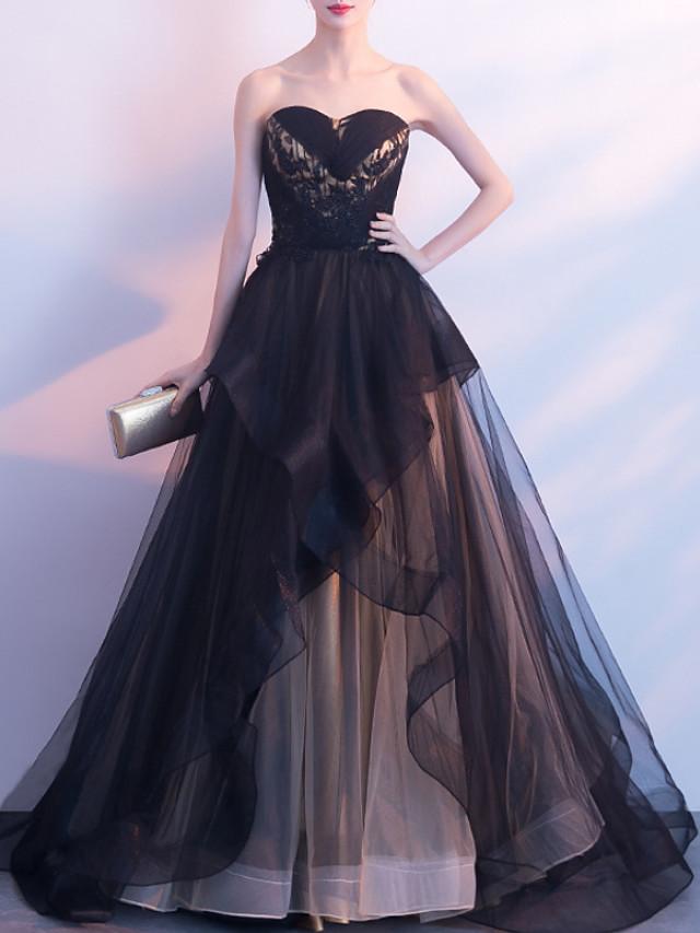 Ball Gown Elegant Wedding Guest Formal Evening Dress Strapless Sleeveless Court Train Organza with Tier 2020