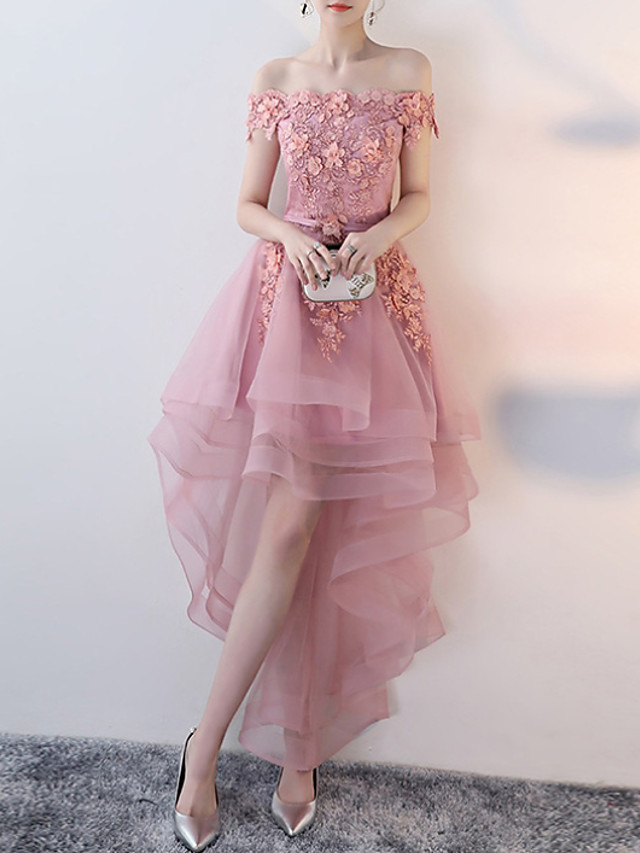 A-Line Floral Pink Wedding Guest Prom Dress Off Shoulder Short Sleeve Asymmetrical Tulle with Appliques 2020