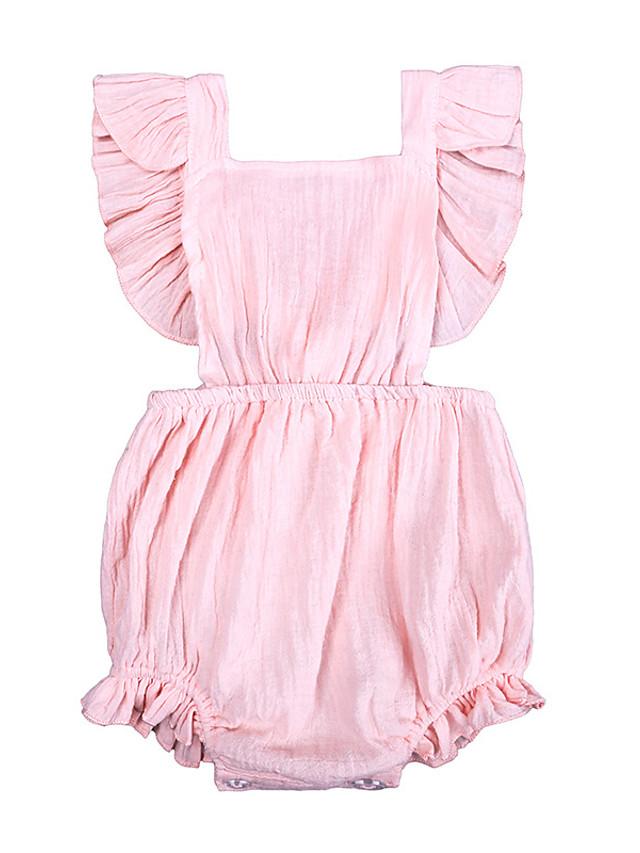 Baby Girls' Active Basic Solid Colored Backless Ruffle Lace up Sleeveless Bodysuit White