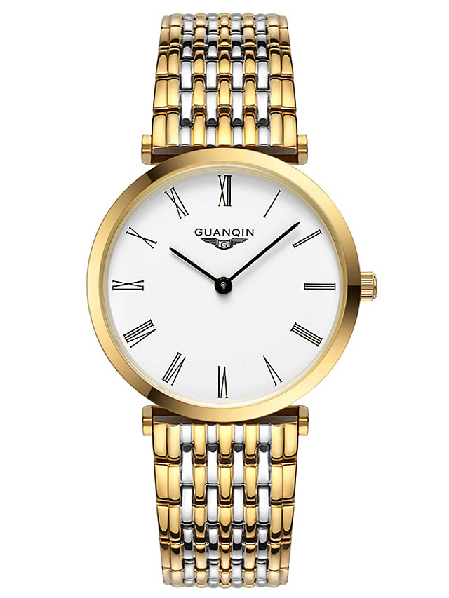 GUANQIN Women's Steel Band Watches Digital Formal Style Modern Style Classic Water Resistant / Waterproof Crystal Stainless Steel Silver / Gold Analog - White / Black White+Golden Golden+White Two
