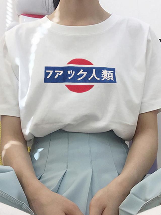 Women's T-shirt Letter Tops Black Blue