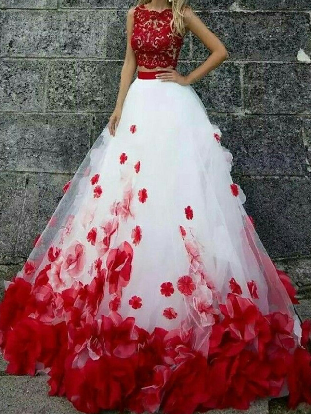 Two Piece Floral Engagement Formal Evening Dress Jewel Neck Sleeveless Court Train Tulle with Lace Insert Appliques 2020