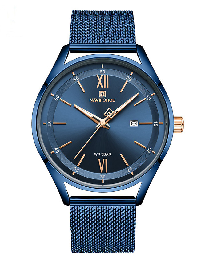 NAVIFORCE Ladies Quartz Watches Quartz Formal Style Modern Style Minimalist Water Resistant / Waterproof Stainless Steel Blue / Silver / Brown Analog - Blue Gold Silver Two Years Battery Life