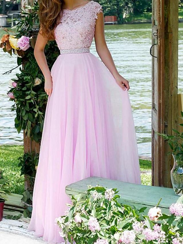 A-Line Elegant Engagement Formal Evening Dress Jewel Neck Sleeveless Floor Length Chiffon Lace with Pleats Appliques 2020