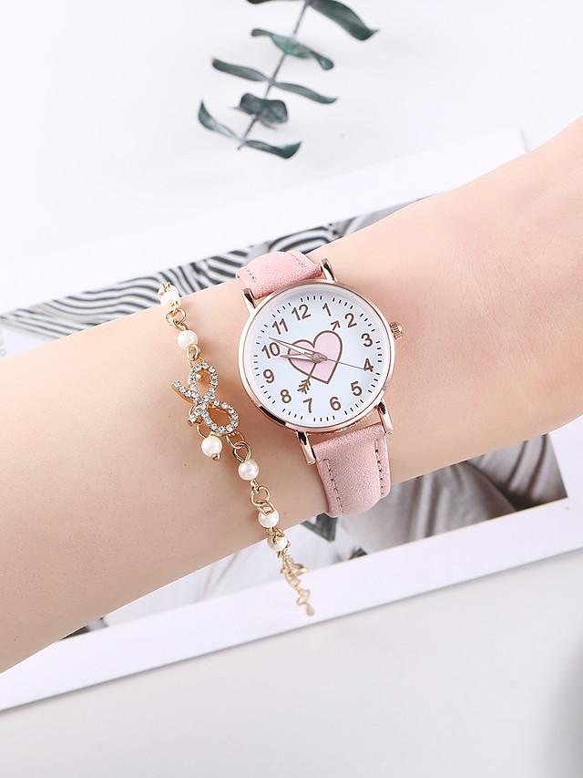 Women's Quartz Watches Quartz Heart shape Chronograph PU Leather Pink Analog - Blushing Pink One Year Battery Life