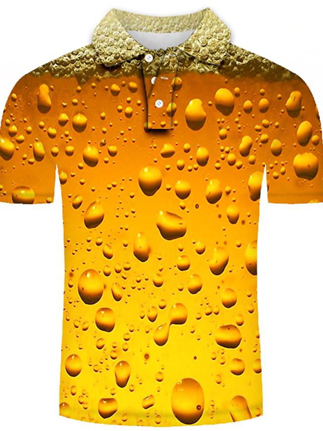 Erkek Golf Gömlek Tenis forması Grafik 3D Büyük Bedenler Kısa Kollu Günlük Üstler Temel Abartılı Gömlek Yaka Gökküşağı