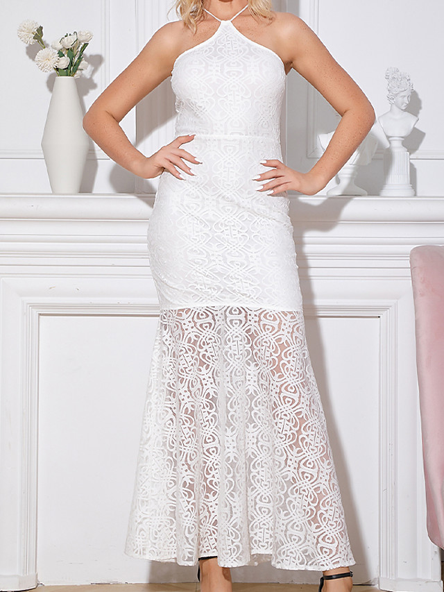 Mermaid / Trumpet Sheath / Column White Party Wear Prom Dress Halter Neck Sleeveless Floor Length Lace with Split Tier 2020