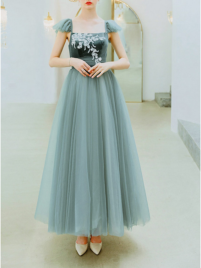 A-Line Elegant Prom Formal Evening Dress Scoop Neck Sleeveless Floor Length Organza with Appliques 2020