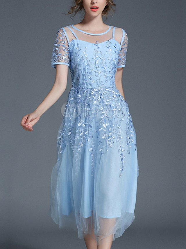 A-Line Elegant Empire Engagement Prom Dress Illusion Neck Short Sleeve Ankle Length Chiffon with Appliques 2020