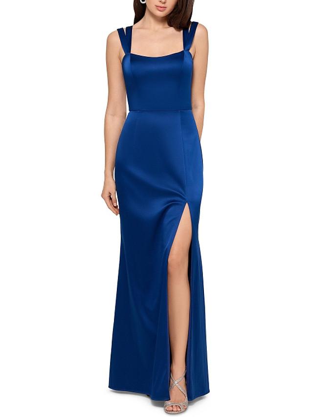 Sheath / Column Elegant Party Wear Formal Evening Dress Scoop Neck Sleeveless Floor Length Satin with Sleek Split 2020