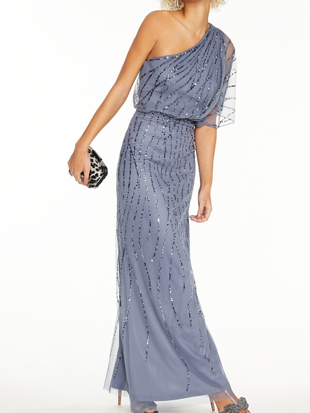 Sheath / Column Elegant Sparkle Wedding Guest Prom Dress One Shoulder Half Sleeve Floor Length Tulle with Sequin 2020