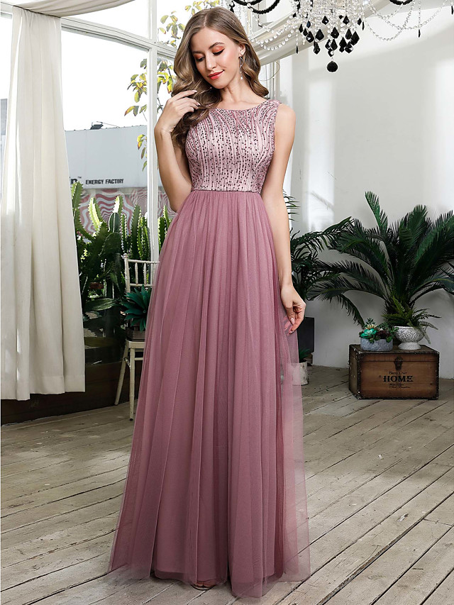 A-Line Beautiful Back Pink Wedding Guest Prom Dress Jewel Neck Sleeveless Floor Length Tulle with Sequin 2020