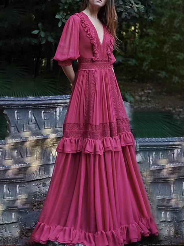 A-Line Empire Boho Holiday Party Wear Dress V Neck Half Sleeve Floor Length Chiffon with Ruffles Lace Insert 2020